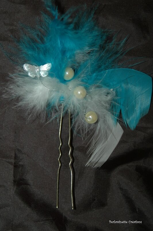 pic mariage plumes papillon perles ivoire turquoise