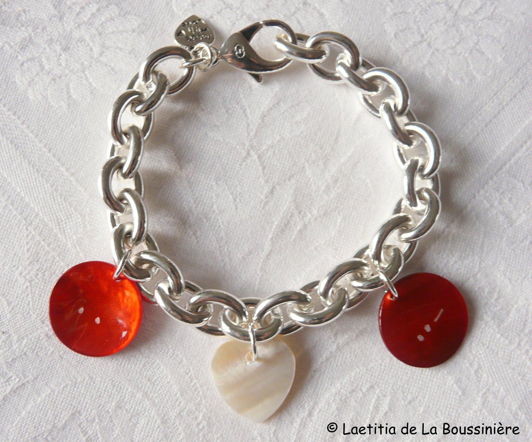 Bracelet Déclaration d'Amour (sur chaîne plaqué argent ovale)