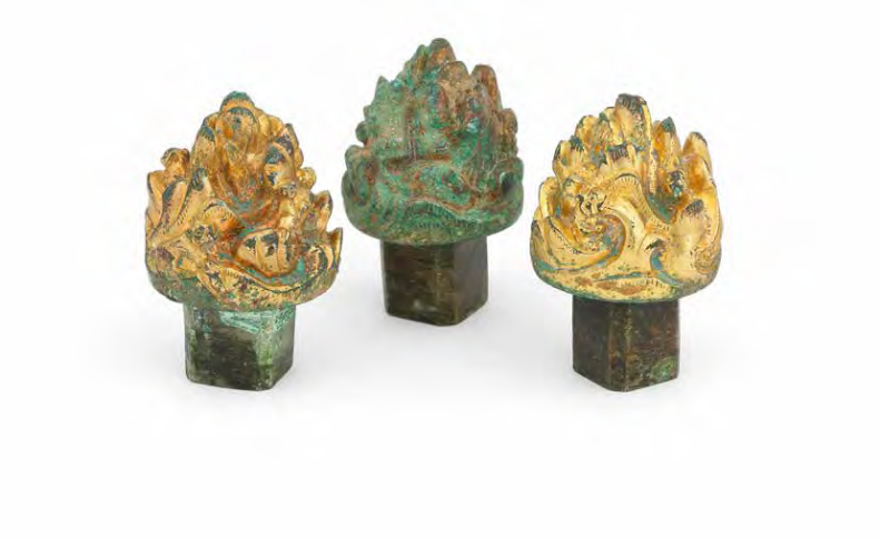 Three rare archaic bronze 'mountain' musical turners, Han Dynasty
