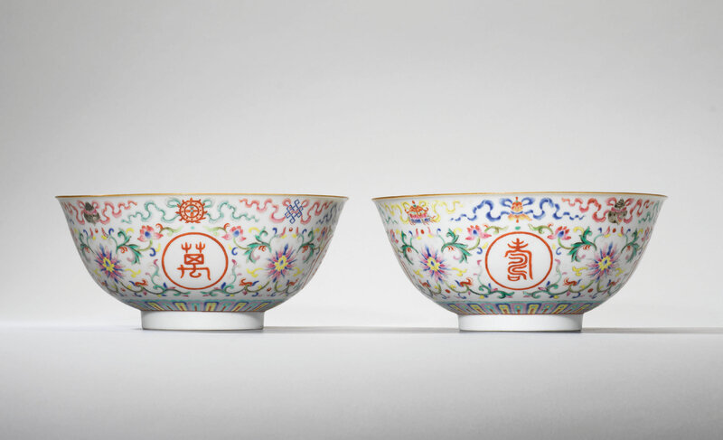 A pair of famille rose 'wanshou wujiang' bowls, Jiaqing six-character seal marks in iron red and of the period (1796-1820)