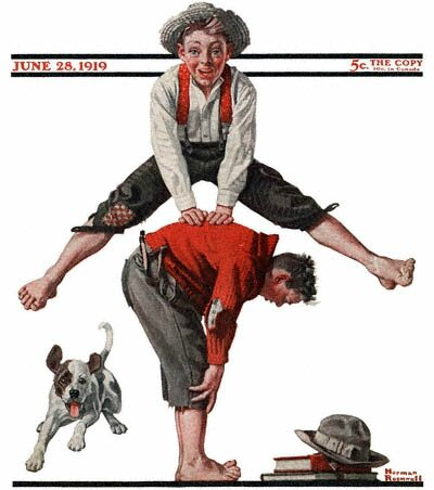1919-06-28-Saturday-Evening-Post-Norman-Rockwell-cover-Boys-Playing-LeapFrog