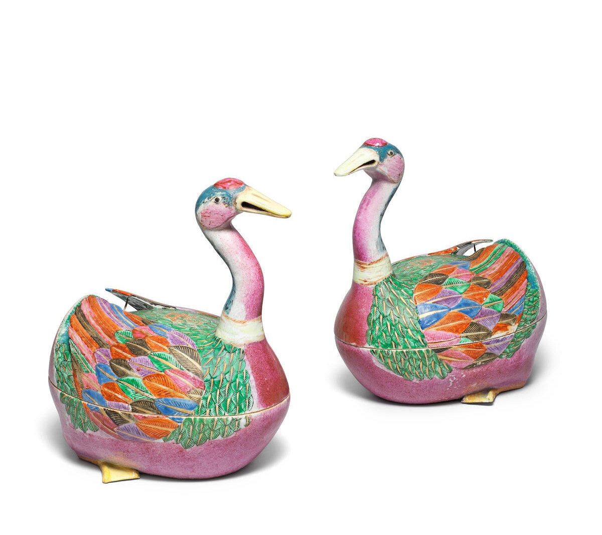 A very fine and rare pair of famille rose 'goose' tureens and covers