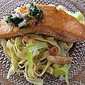 Saumon mariné au sirop d'érable et tagliatelle aux poireaux