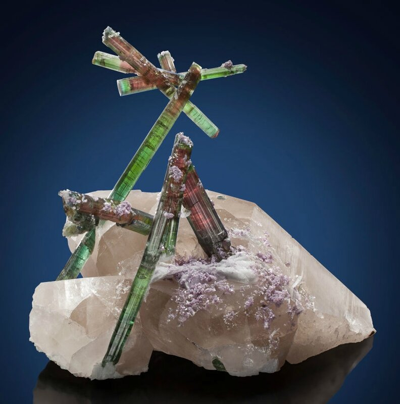 Tourmaline on quartz with lepidolite and cleavelandite - The 'Flower of Pederneira'