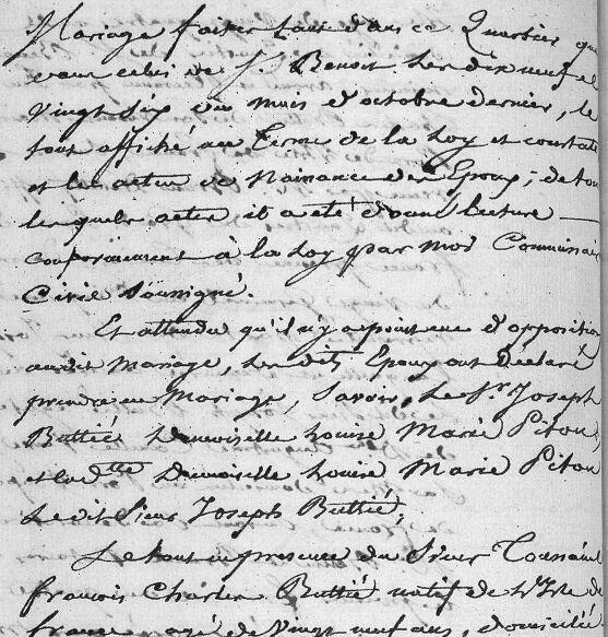 Buttié Joseph et Louise Marianne Pitou_mariage 1806_St André