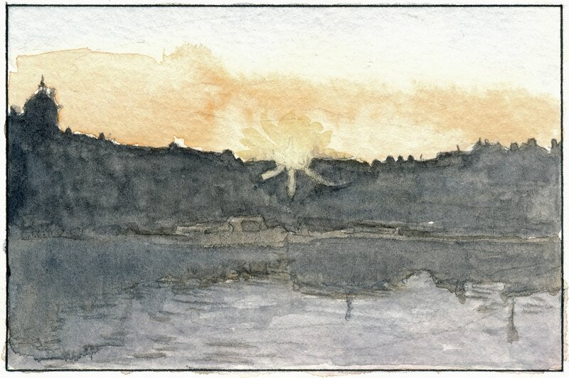 34 Sablé - Coucher de soleil (vue depuis la capitainerie) 1992 02 23 (2 de 2)