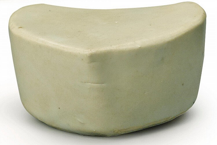 A white-glazed pulse pillow, Five Dynasties-Song dynasty (907-1279)