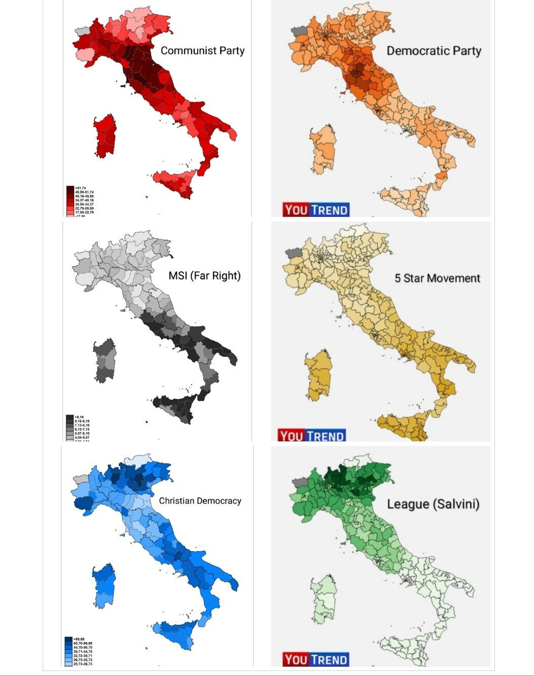Italy Vote distribution in 1976 elections (left) and 2018 elections (right)