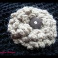 Broche fleur crochet & tissu