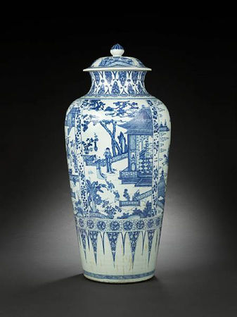 A_rare_and_large_blue_and_white__soldier__vase_and_cover