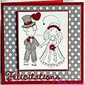 carte de félicitations de mariage en rouge et gris avec couple de mariés