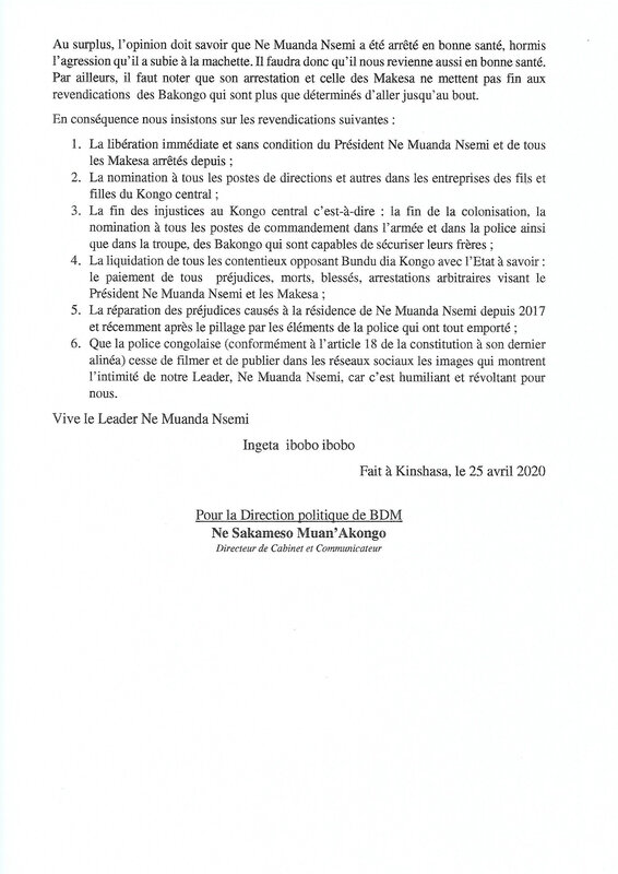 DECLARATION DE LA DIRECTION POLITIQUE DE BUNDU DIA MAYALA 25 AVRIL 2020 b