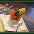 Verrines de saumon mariné et concombre