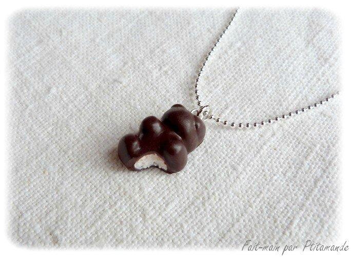 Collier nounours guimauve chocolat (1)