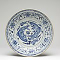 Large blue and white dish. probably chu dau kilns, red river delta, northern vietnam, 1440-1460