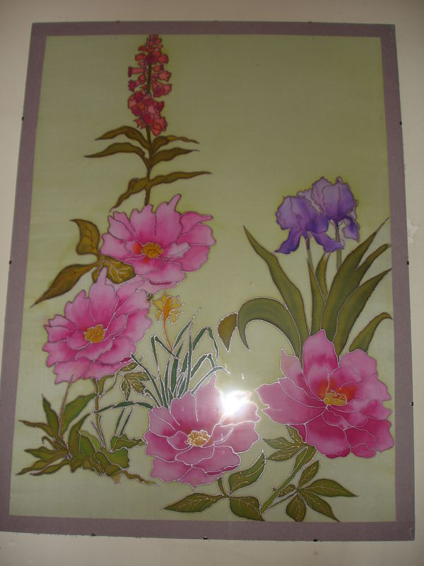 tableau peinture sur soie