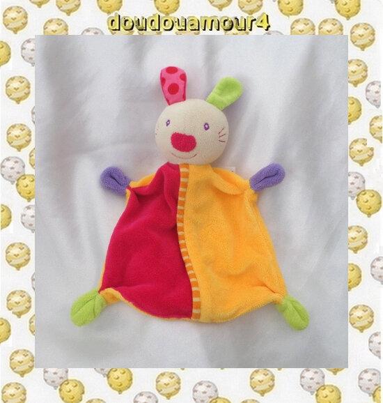Doudou Plat Lapin Fushia Orange Vert Violet Truffe Ronde Baby Club C&A
