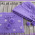 Snood et bonnet violet
