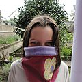 Snood fille velours rose polaire violette
