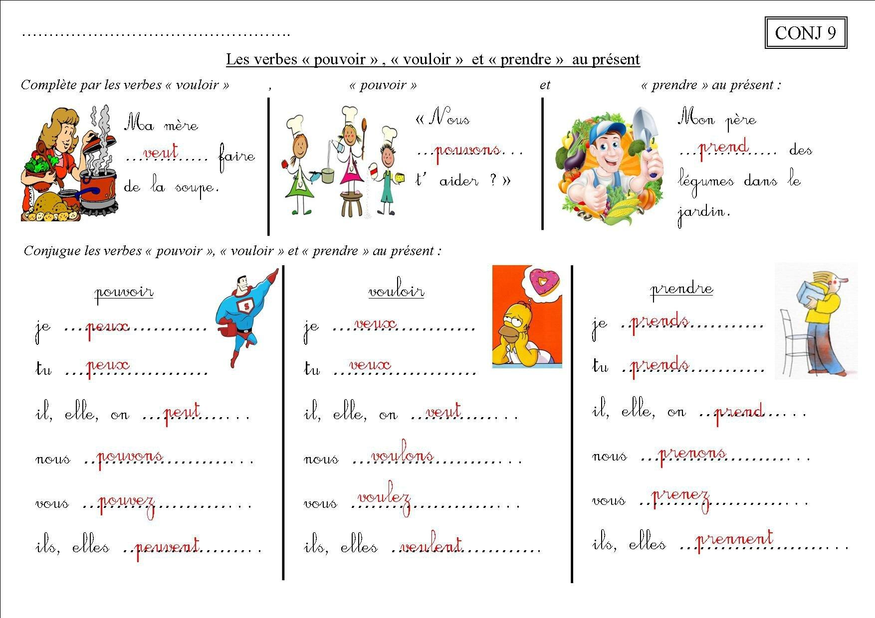 Conj 9 Ce2 Les Verbes Pouvoir Vouloir Prendre Au Present La Classe Des Ce De Villebois