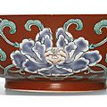 A rare coral-ground famille-verte bowl, Yongzheng four-character yuzhi  mark and period