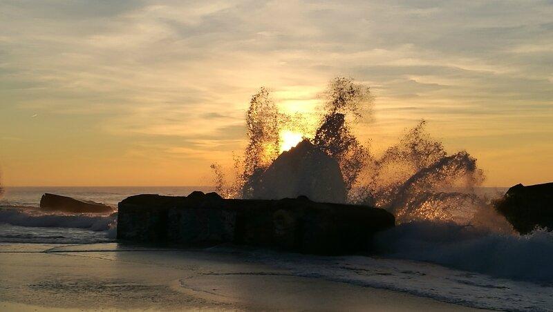 Capbreton, coucher de soleil, blockhaus et vagues (40)