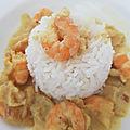 Crevettes au curry, pomme et coco