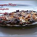 Courgettes farcies chénopodes feta amandes lardons