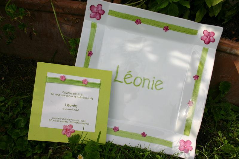 Harmonie en vert et rose pour la jolie Léonie