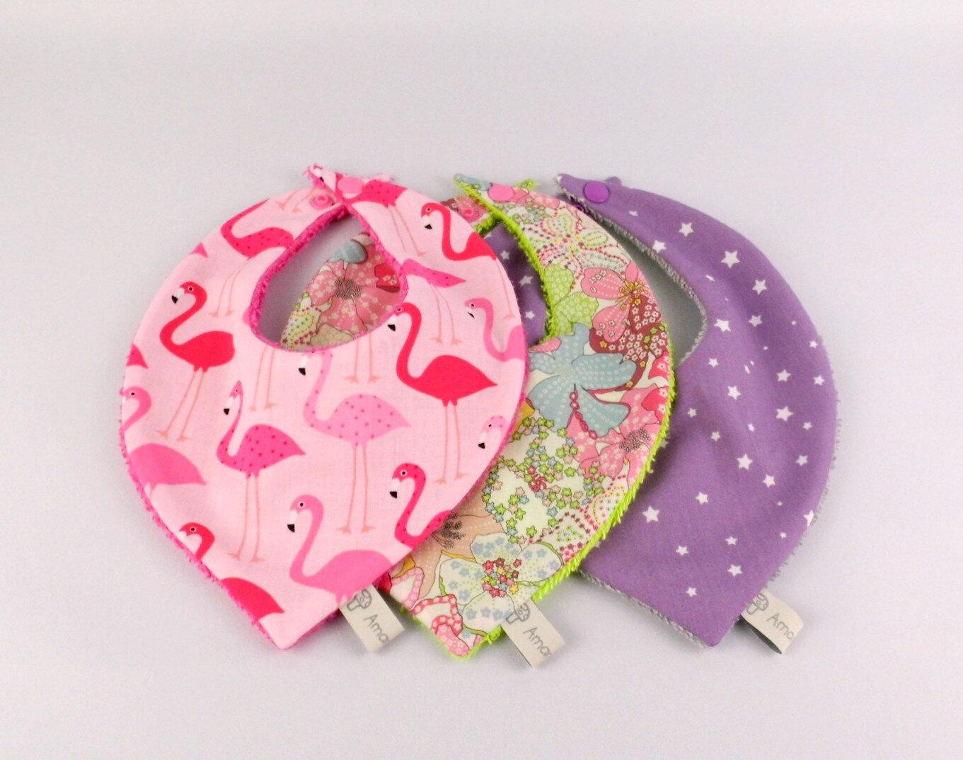 Bavoirs bandanas fille personnalisable couleurs au choix cadeau naissance personnalisé Noël bébé fille