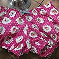 Culotte en coton fushia à médaillon de roses - noeud de vichy ciel (5)