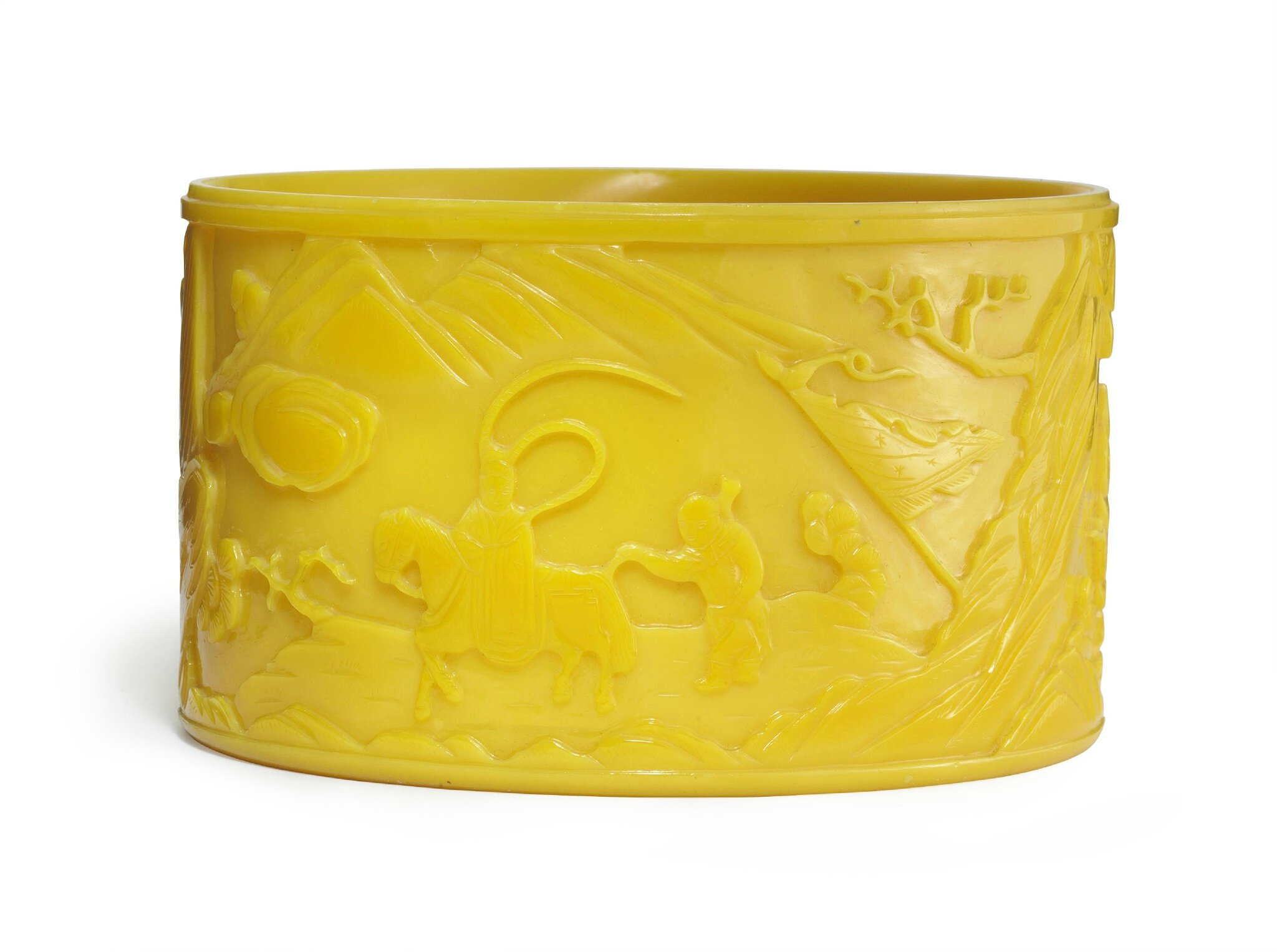 A semi-opaque yellow glass, cylindrical vessel, 19th century