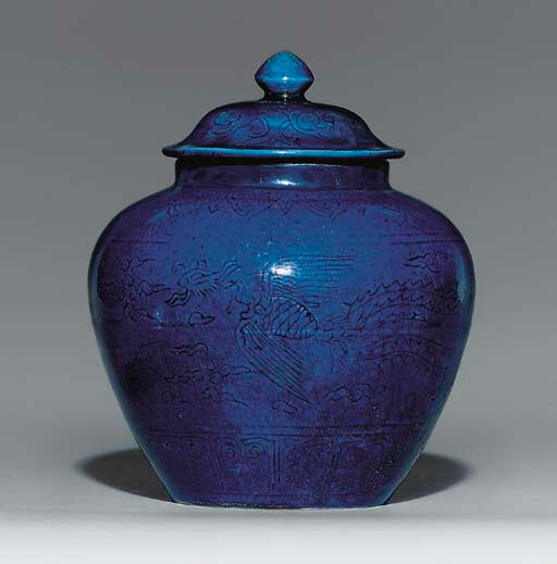 A blue-glazed jar and cover, underglaze-blue Jiajing six-character mark within a double circle and of the period (1522-66)