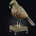 An enamelled and gem-set model of a parrot, hyderabad, deccan, circa 1775-1825