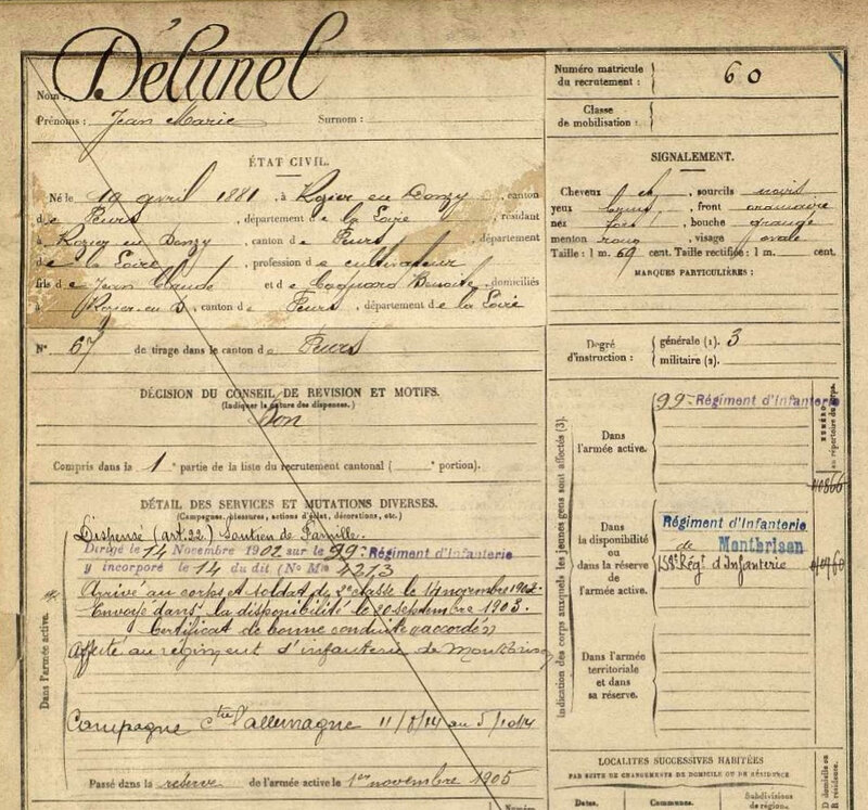 Delunel Jean Marie, fiche matricule (1)