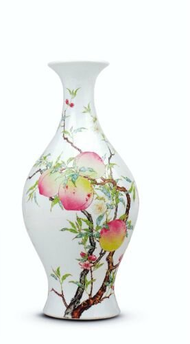 Famille-rose enamelled 'peach' vase, Qing dynasty, Yongzheng mark and period