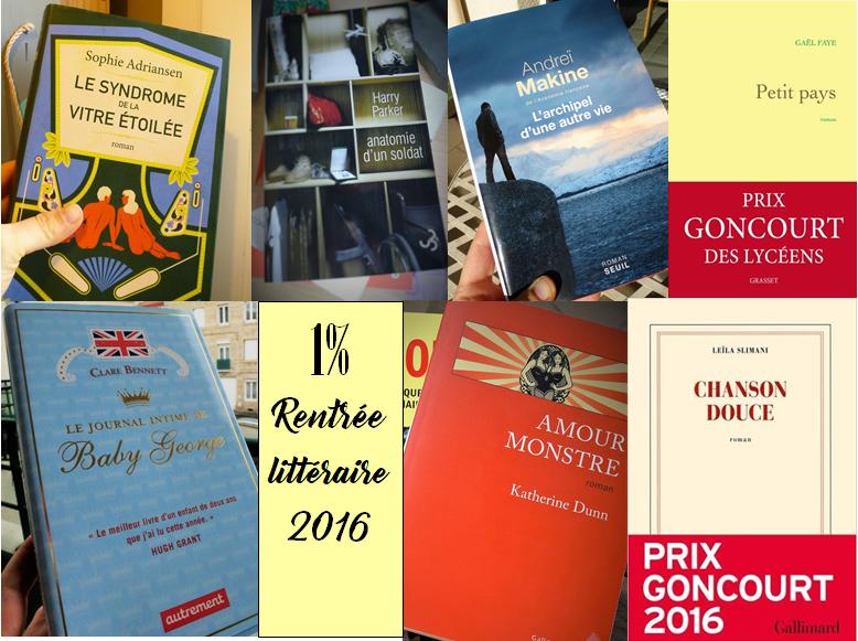 Mosaïque 1% rentrée littéraire 2016