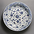 A large blue and white dish, ming dynasty, yongle period (1403-1425)