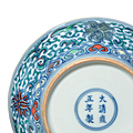 A fine pair of smalldoucaidishes, yongzheng six-character marks in underglaze blue within a double circle and of the period (1