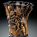 A carved wooden cup, qing dynasty, 19th century