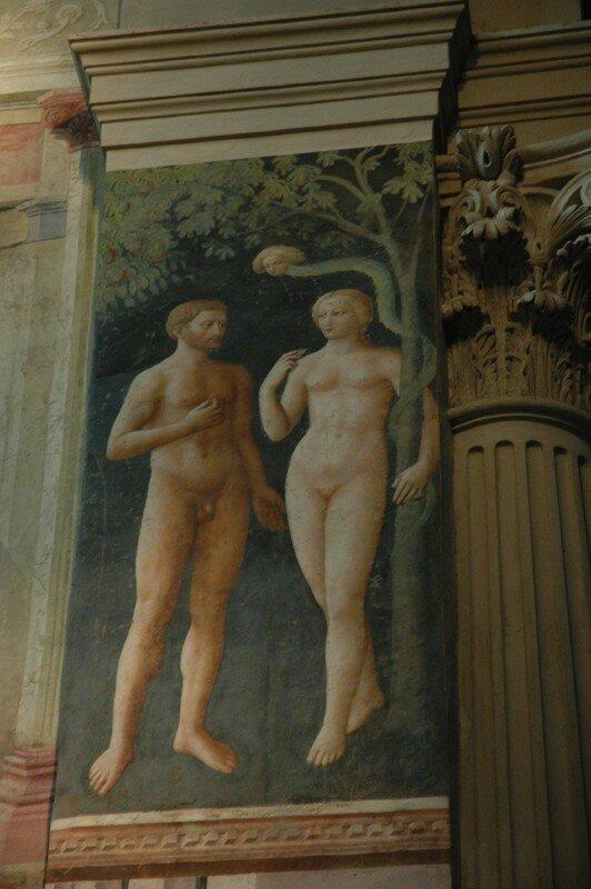 Adam et Eve (Masolino) dans le cadre rénové