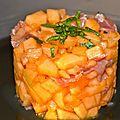 Tartare de melon au jambon de parme, citron vert et basilic, ou comment changer du melon de parme/jambon