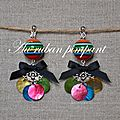 BO perle multicolore et noeud noir - 20 euros