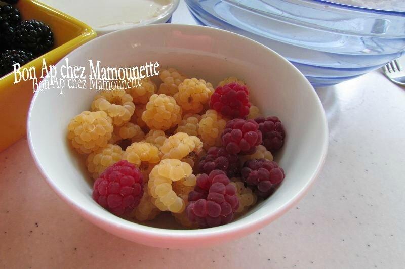 petits gâteaux mascarponés framboises jaunes, rouges et mûres 003