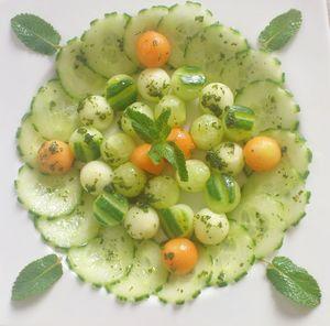 entrée d'été Mentalo green du chef custos ( melon concombre)