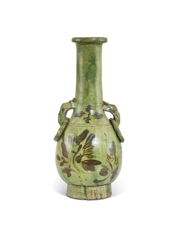 A Cizhou painted green-glazed handled bottle vase, Song dynasty (960-1279)