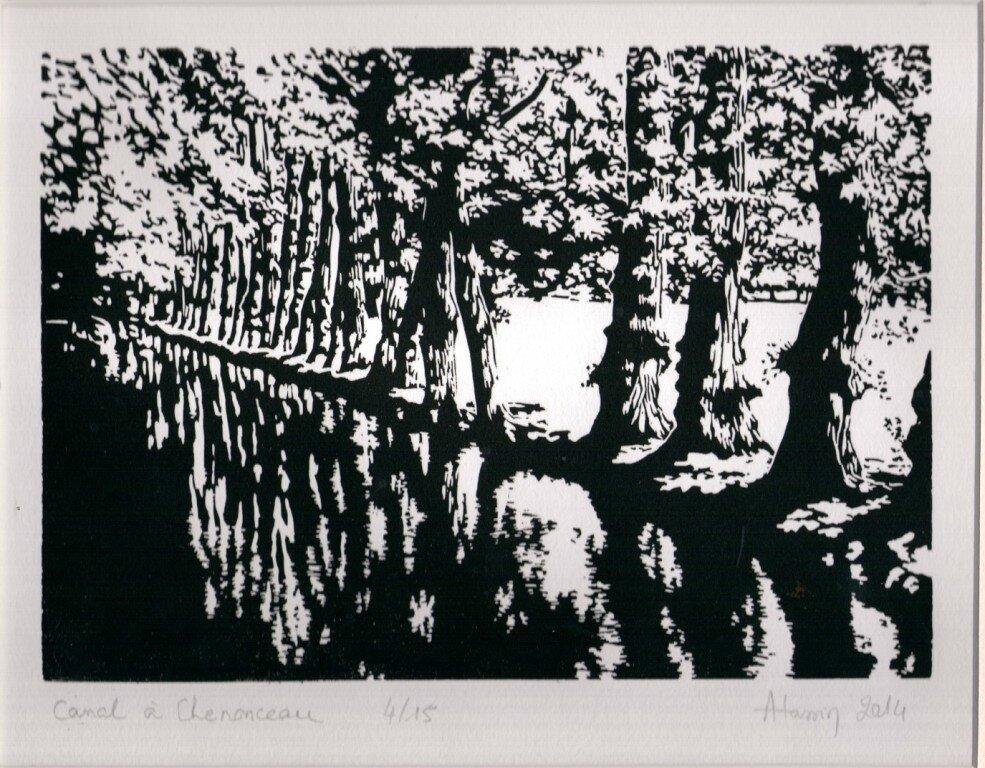 Gravure canal Chenonceau - Copie