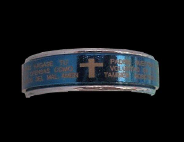 Bague Mixte Tournante anti-stress Acier Argenté et Bleu Motifs Croix et Écriture Religieux Taille 59-60