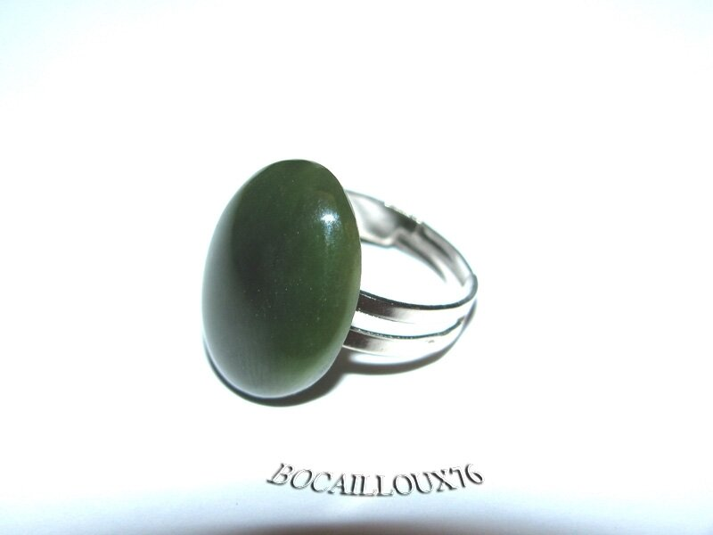 BAGUE JADE 9 Cabochon 15x20 - Support REGLABLE T52++
