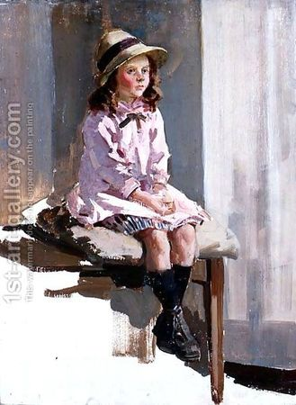 Watson Harry Portrait-Of-A-Young-Girl-In-A-Pink-Dress-And-A-Straw-Hat